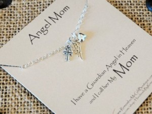 Angel Mom Memorial Necklace in Sterling Silver with card closeup