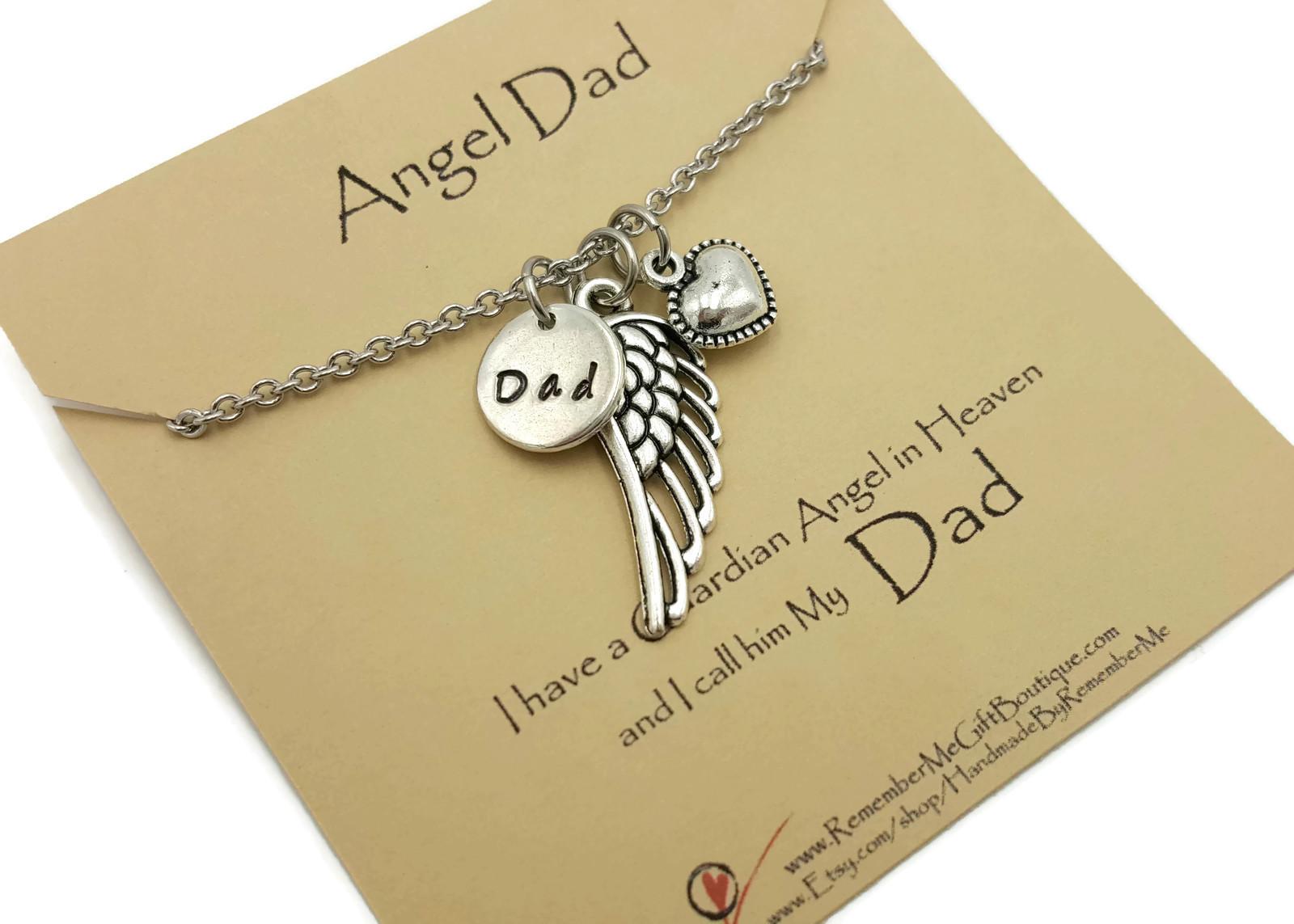 Angel Dad Memorial Necklace - Hand Stamped Memorial Jewelry