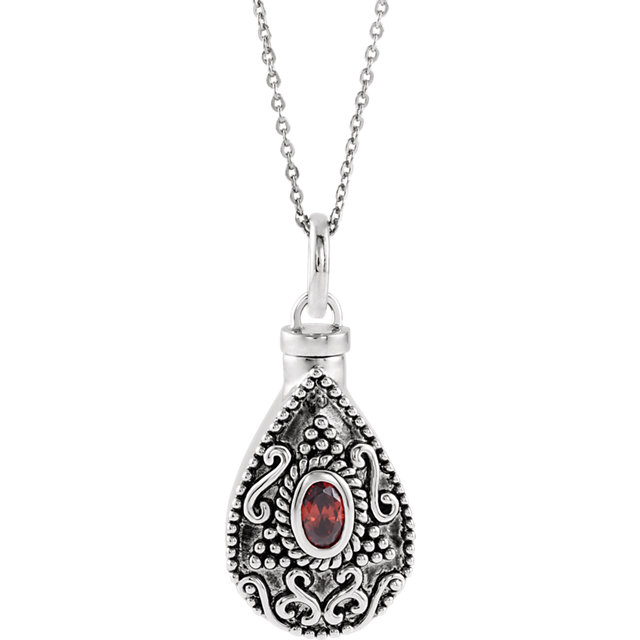 Birthstone Tear Cremation Ash Holder Pendant and Chain - Free Shipping