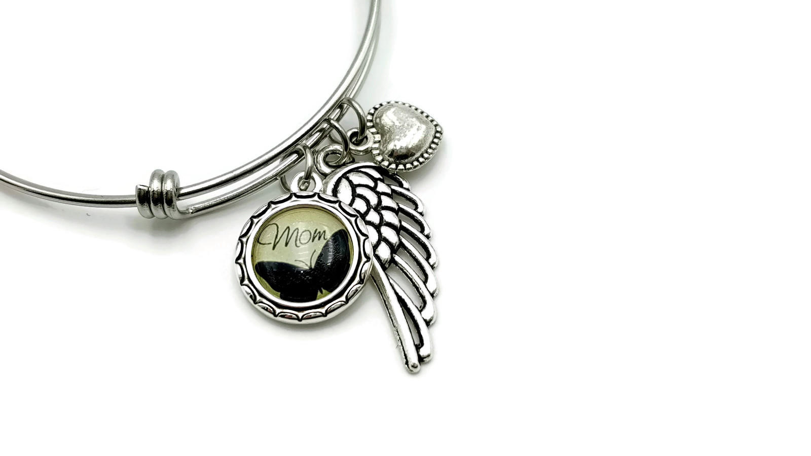 Angel Mom Memorial Bracelet with Butterfly Pendant