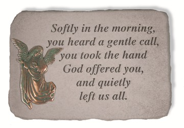 Softly in the morning Memorial Garden Stone with Metal Insert