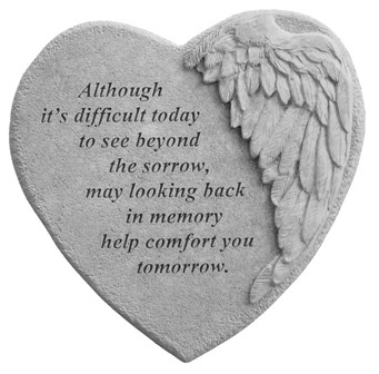 Although Its Difficult, Winged Hearts, Garden Memorial Stone