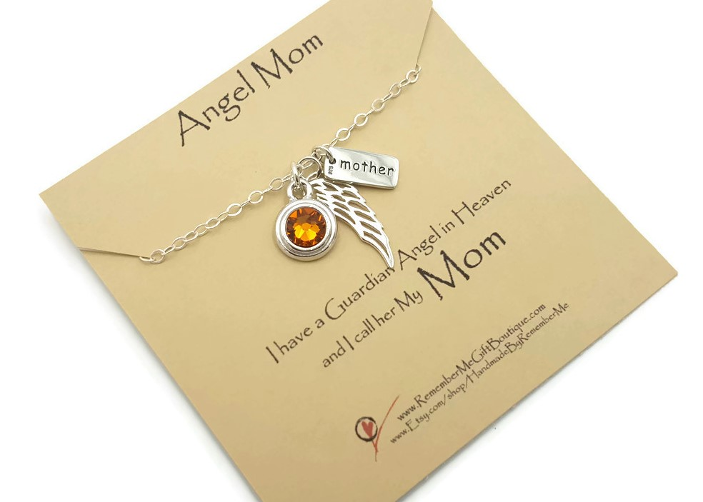 Memorial Necklace for Loss of Mom with Birthstone