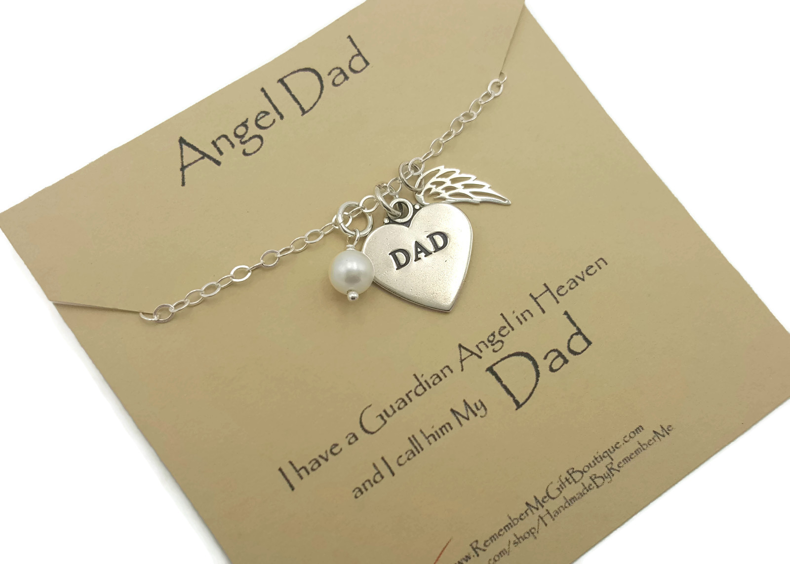 Sterling Silver Loss Of Dad, Angel Dad, Memorial Necklace