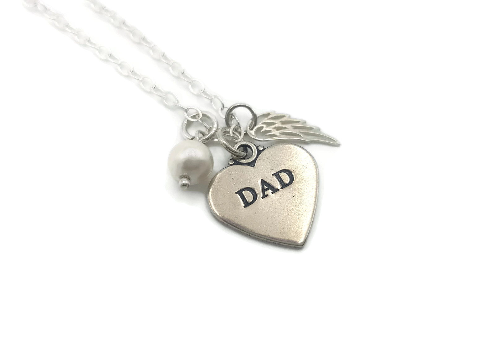 Sterling Silver Loss Of Dad, Angel Dad, Memorial Necklace