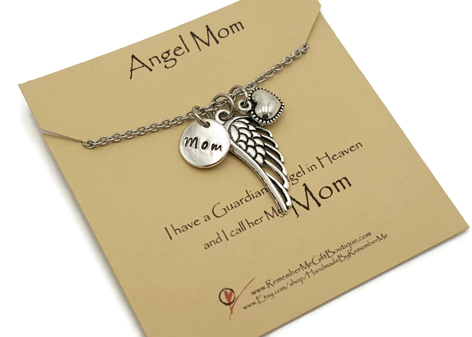 Angel Mom Memorial Necklace Necklace - Hand Stamped Mom Charm