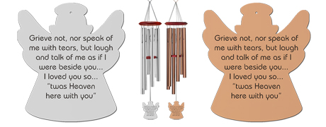 """Grieve Not"" Memorial Wind Chimes Angel"