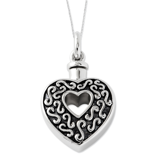 Antiqued Heart Ash Holder Necklace - Cremation Jewelry