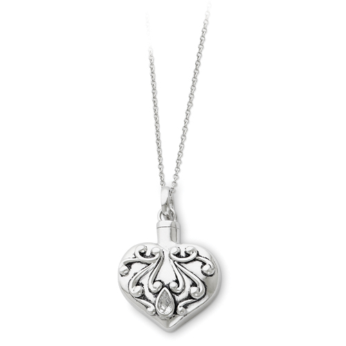 Sterling Silver Antiqued Heart Remembrance Ash Holder Necklace