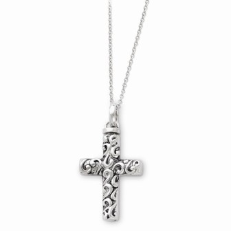 Antiqued Cross Ash Holder Necklace - Cremation Jewelry