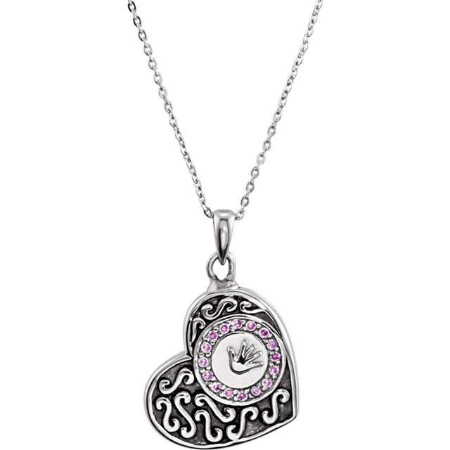 Handprints Ash Holder Cremation Necklace for Girl Loss of Child - Free Shipping