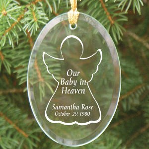Personalized Baby In Heaven Glass Ornament - Christmas Memorial Ornament