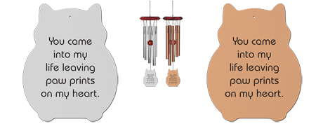 Paw Prints On My Heart Memorial Wind Chimes For Cats
