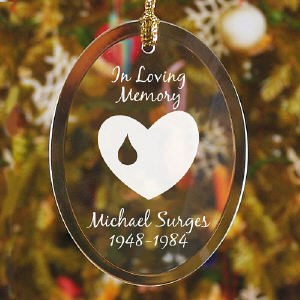 In Loving Memory Christmas Ornament with Heart and Tear