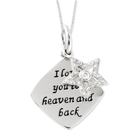 I Love You To Heaven and Back - Inspirational Necklace - Memorial Jewelry