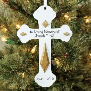 In Loving Memory Cross Christmas Memorial Ornament
