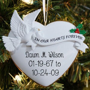 In Our Hearts Personalized Dove Ornament - Christmas Memorial Ornaments