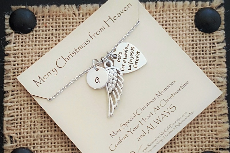 Merry Christmas From Heaven - Ours For Awhile, With Jesus Forever Memorial Necklace