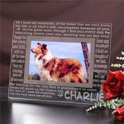 Glass Pet Memorial Picture Frame - Losing A Pet is Never Easy