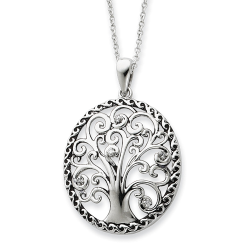 Sterling Silver Antiqued Tree Of Life Necklace