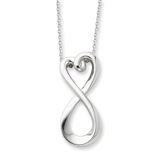 Sterling Silver Polished Infinite Love Necklace - Inspirational Necklace