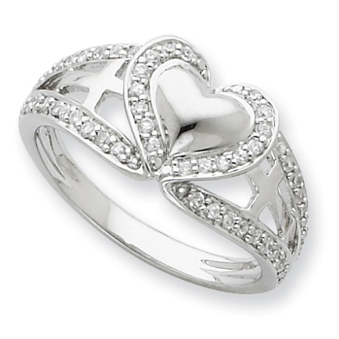 Sterling Silver And CZ Polished Pure Heart Ring - Purity Ring