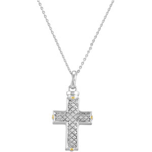 Checkerboard Cross Cremation Ash Holder Pendant and Chain
