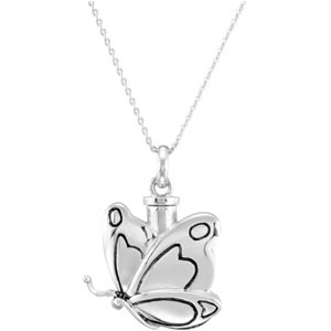 Butterfly Cremation Ash Holder Pendant and Chain - Cremation Necklace
