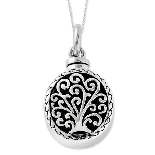 Sterling Silver Antiqued Tree of Life Ash Holder Necklace - Cremation Jewelry