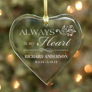 Personalized Always In My Heart Christmas Memorial Ornament