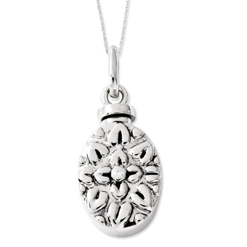 Sterling Silver CZ Antiqued Flower Ash Holder 18in Necklace - Free Shipping