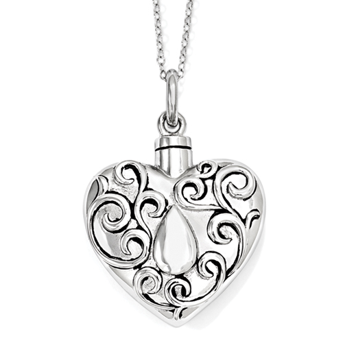 The Grieving Heart Necklace Sterling Silver Cremation