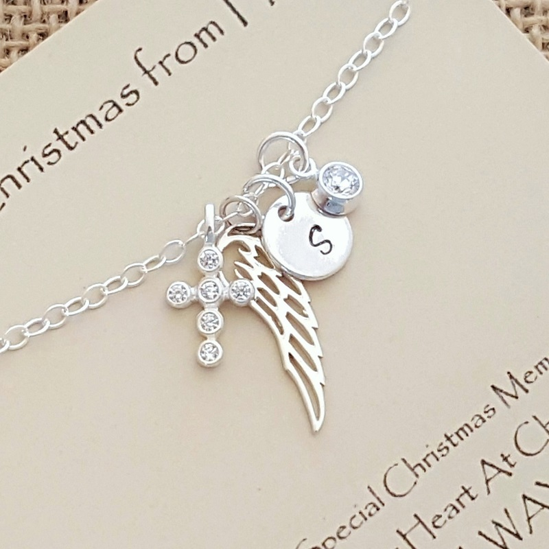 Sterling Silver Christmas Memorial Necklace with CZ Cross and Gift Box and Card