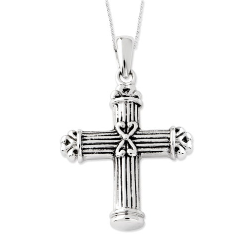 Sterling Silver Antiqued Cross Ash Holder Cremation Necklace - Free Shipping