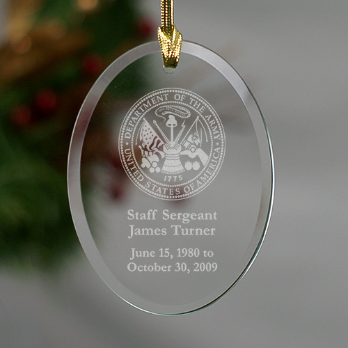 United States Army Glass Christmas Memorial Ornament