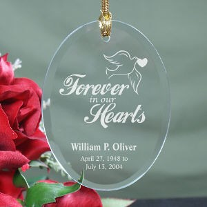 Forever In Our Hearts Oval Glass Christmas Memorial Ornament