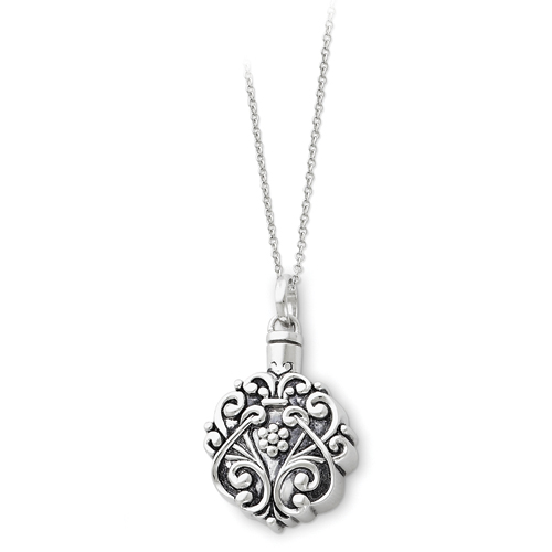 Sterling Silver Antiqued Flower Circle Remembrance Ash Holder 18in Necklace - Free Shipping