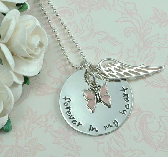 Forever In My Heart Butterfly Handstamped Necklace - Memorial Necklace