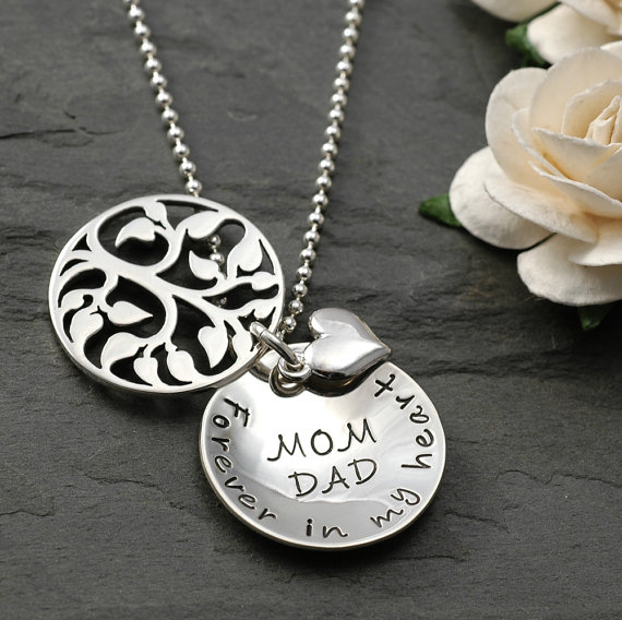 Family Tree Hand Stamped Memorial Jewelry Necklace - Memorial Necklace