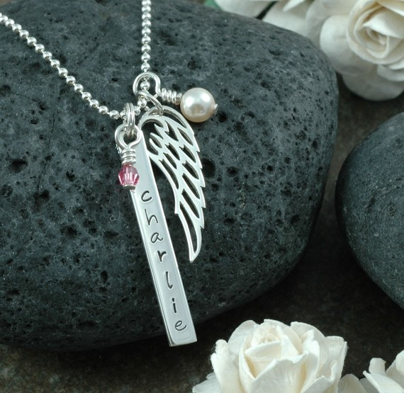 Sterling Silver Angel Wing Hand Stamped Memorial Necklace, Memorial Jewelry