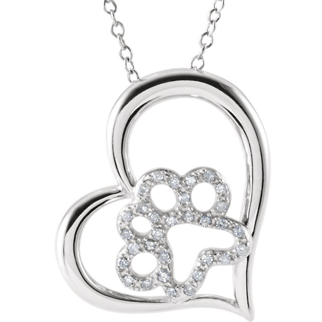 "Diamond Heart Paw 18"" Necklace - Pet Memorial Jewelry"