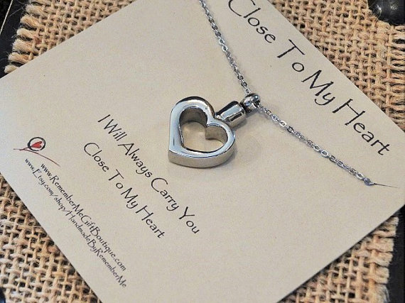 Heart Cremation Urn Necklace - Cremation Necklace