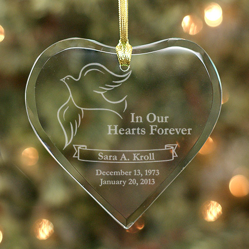Heart Shaped In Our Hearts Forever Christmas Memorial Ornament