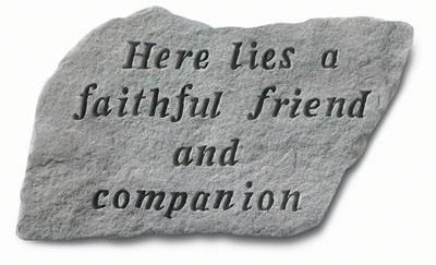 Here Lies a Faithful Friend and Companion Pet Memorial Garden Stone