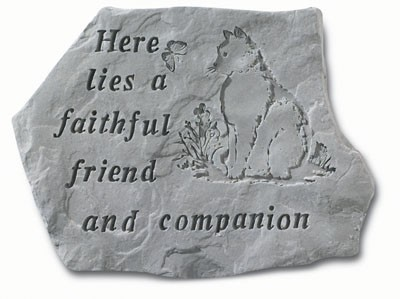 Here Lies a Faithful Friend and Companion Cat Memorial Garden Stone
