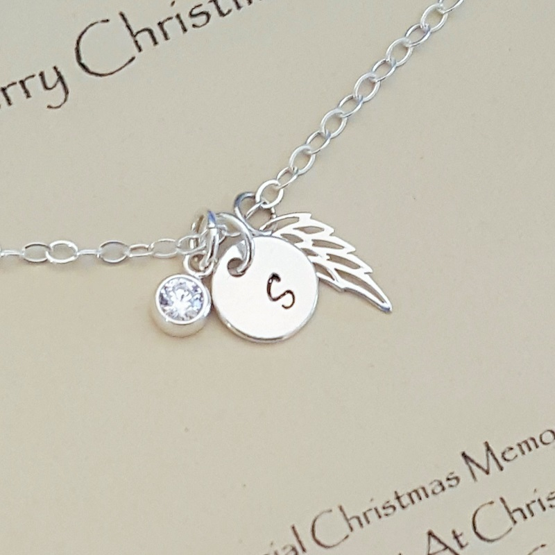 Cute Sterling Silver Merry Christmas Memorial Necklace Sentiment