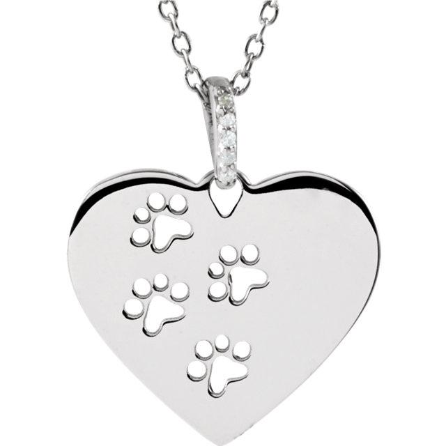 Diamond Heart Pawprints Necklace - Pet Memorial Jewelry