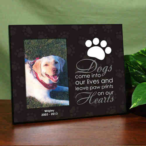 paw prints on our heart dog dog memorial picture frame