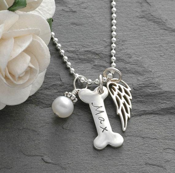 Dog Bone and Angel Wing Pet Memorial  - Pet Memorial Jewelry