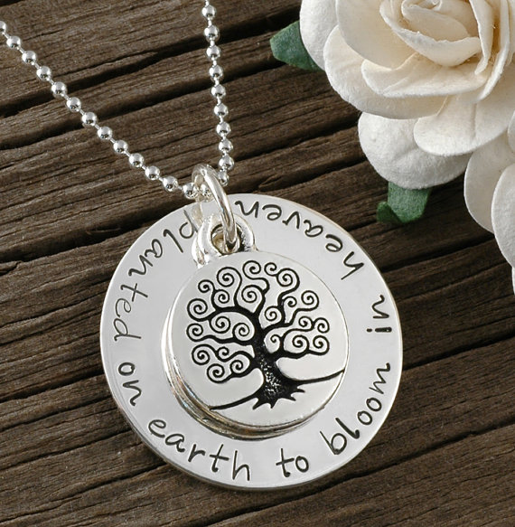 Planted Here On Earth to Bloom In Heaven Personalized Hand Stamped Necklace